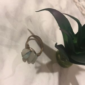 🔥3/$28🔥EUC Green Stone Gold Wire Ring